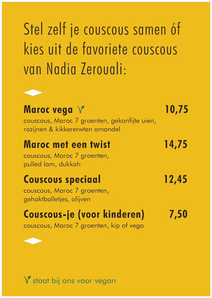 Couscousbar Menu